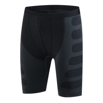 Men's slim fit training pro sports fitness running shorts stretchquick-drying compression shorts clothes 6004 (Black and gray line)