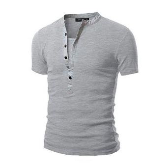 Mens V Neck Short Sleeve Slim Fit T-Shirt(Light gray)