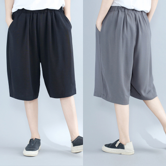 MM Korean-style female New style Plus-sized wide leg pants shorts (Black) (Black)