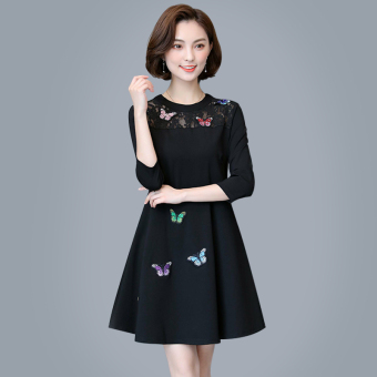 MM New style Butterfly through the lace stitching dress