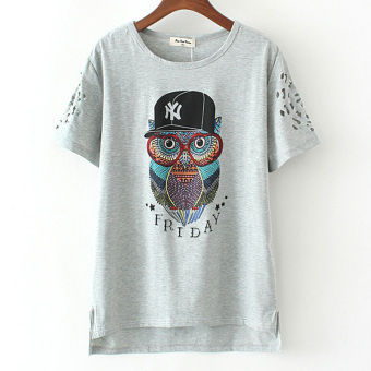 MM New style Plus-sized printed T-shirt (Gray Cat Head Eagle)
