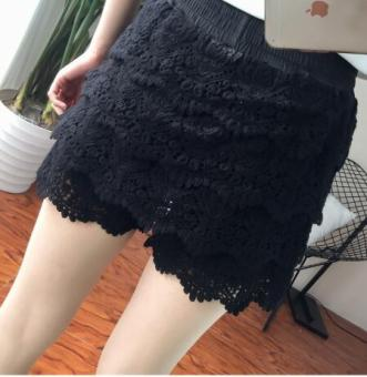 MM Plus-sized lace shorts (Black) (Black)