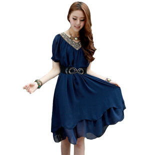 Mm xxxxxl summer slimming mid-length chiffon dress (Dark blue color)