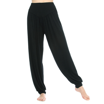 Modal female adult Latin dance fitness pants lantern pants (Black pants)