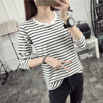 Ms. New style v-neck striped loose Korean-style long-sleeved t-shirt (Black)