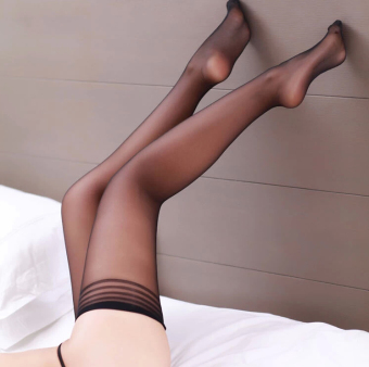 Ms. ultra-thin non-slip sexy thigh socks high socks (Black) (Black)