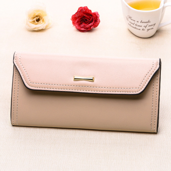 Ms. wallet long section of Japanese and Korean students large capacity hand bag female clutch bag 2016 New style hook minimalist wallet (Pink)