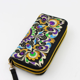 National Style New style embroidered wallet bag (Purple) (Purple)