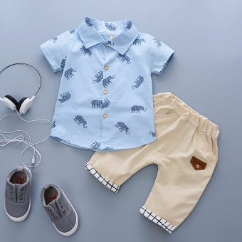 New style boy's infants and children's clothing (Elephant shirt blue)