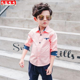 New style boys autumn long-sleeved white shirt (Pink color)