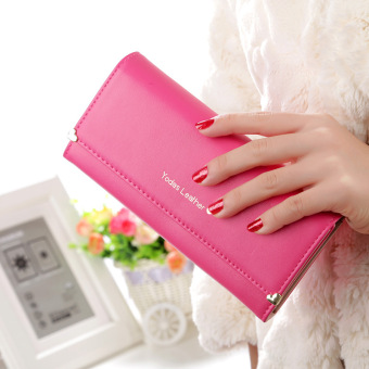 New style Korean-style long section of Ms. wallet female fashion love rivet purse bag three fold long wallet clutch bag female (Rose color)