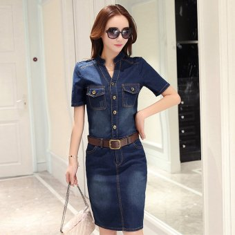 New style long section Slim fit package hip denim short-sleeveddress