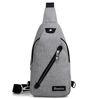 New style men's chest pack Korean-style Stylish bag messenger bag casual canvas man bag shoulder bag pockets small backpack (Gray)