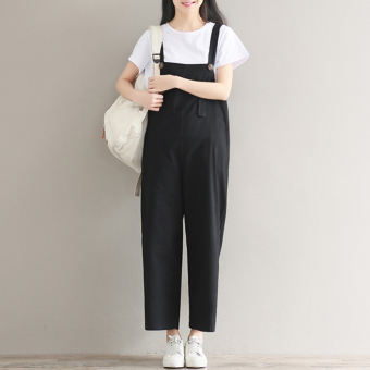 New style Slim fit Slimming effect Linen black overalls