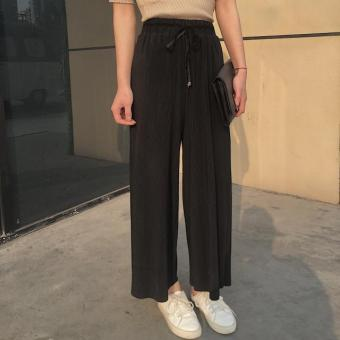 New style summer lace loose casual pants wide leg pants (Black)(Black)