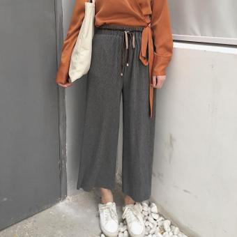 New style summer lace loose casual pants wide leg pants (Gray)(Gray)