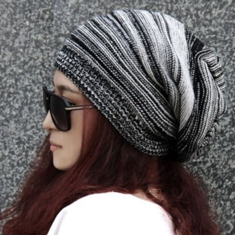 NEW Unisex Womens Mens Knit Baggy Beanie Hat Winter Warm OversizedSki Cap Black