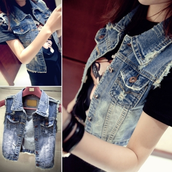 New Women Fashion Short Vintage Style Waistcoat Coat CasualOuterwear Jean Vest