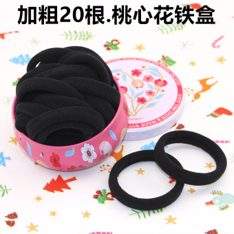 No pick sewing rubber band tousheng headdress hair Ring (Bold 20 root. Peach heart flower)