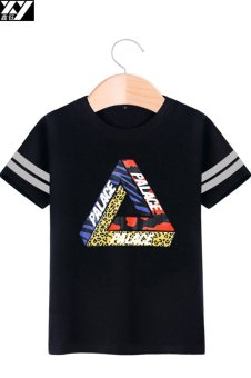 Palace loose round neck Cool tide cotton short-sleeved t-shirt(Black 1) (Black 1)