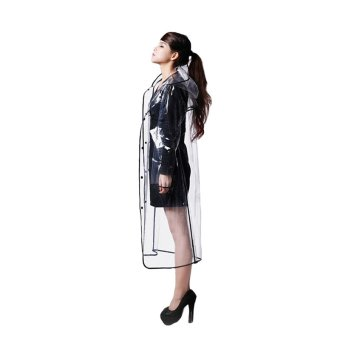 PAlight Women EVA Hooded Transparent Rain Coat (Long-Black)