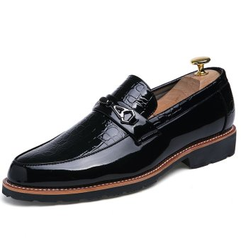 PINSV Men Formal Shoes Business Leather Shoes Slip-On