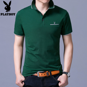 PLAYBOY New style men's short sleeved t-shirt (1701 green) (1701 green)