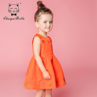 Princess skirt small girls summer red autumn dress
