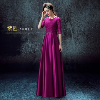 Red spring New style banquet evening dress wedding dress (Purple sleeve) (Purple sleeve)