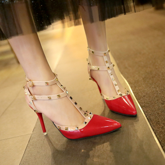 Riveted thin heeled Summer pointed women's sandals high-heeled shoes (Red)