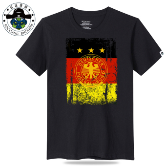 Rocktang cotton printed round neck versatile short sleeved t-shirt New style short sleeved t-shirt (Germany team black t-shirt) (Germany team black t-shirt)