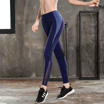 Sexy yarn breathable yoga fitness pants I pants (Blue)