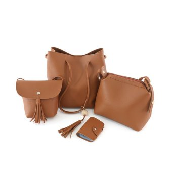 Shishang shoulder messenger bag New style bucket bag women's bag (Light Brown)