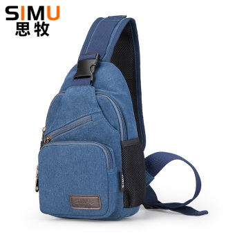 Shoulder bag men messenger bag chest pack male Korean canvas sports diagonal men's small backpack men casual oblique bag outdoor (Blue)