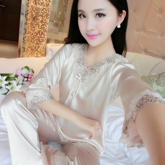 Silk short sleeved women's home clothes silk pajamas (805 champagne)