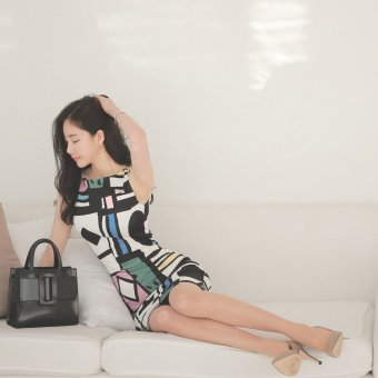 Sleeveless Print Korean-style package hip Slim fit long sectiondress