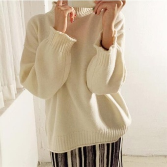 Solid color New style semi-high collar pullover LOOESN knitted shirt (Beige)