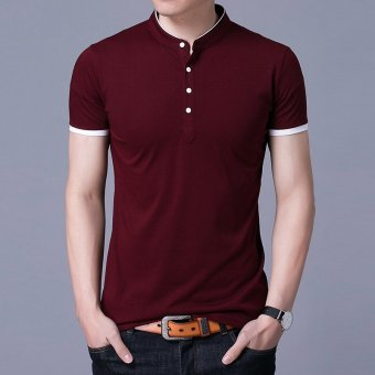 Solid color round neck Plus-sized bottoming shirt T-shirt (Wine red8173)