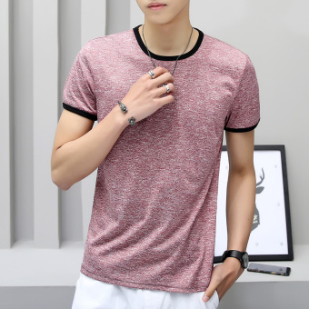 Solid color Slim fit Short sleeve base shirt T-shirt (Color Silk red)