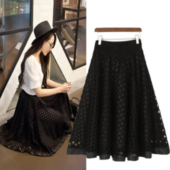 Spring and Autumn new bottoming Tutu skirt female half-length skirtwild skirt hollow big skirt dress long section princess dress(Black)