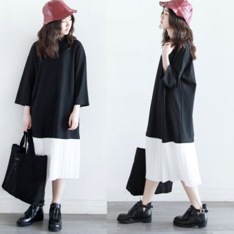Spring and Autumn New style fake two-piece long dress hoodie (Gray version1) (Gray version1)