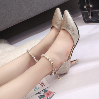 Spring New style pointed thin heeled shoes (Gold 6 cm)