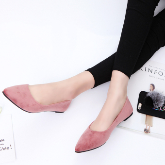 Spring pointed flat shoes New style women's shoes (Pink)
