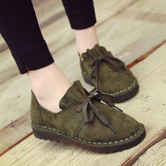 Suede student foot covering Retro lace casual shoes small leather shoes (Green)