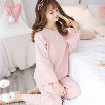 Sweet beauty Spring and Autumn cotton long-sleeved tracksuit pajamas (911 pink)