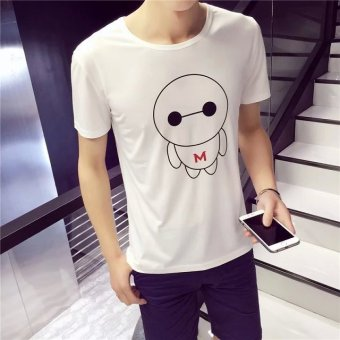 Teenager short sleeved boy's High School Students T-shirt base shirt (White white) (White white)