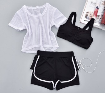 Three Piece Suit fitness room female sports bra yoga clothes (Gauze 3 piece 7) (Gauze 3 piece 7)