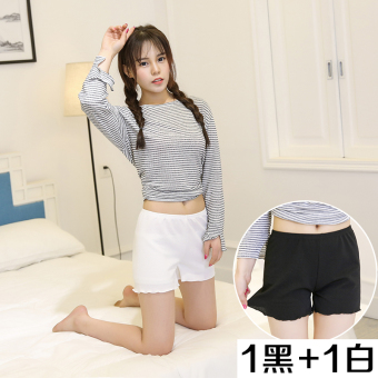 Three points anti-outer wear ladies leggings Safety pants (1 strip black and 1 strip white) (1 strip black and 1 strip white)