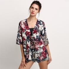 Deals for Chiffon Kimono Cardigan Floral Print (Multicolor ...