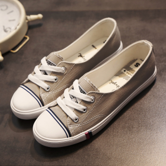 Ulzzang Korean-style female spring and shallow mouth casual shoes canvas shoes (Gray) (Gray)